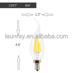 Vintage Edison Dimmable Led Filament Lamp 2W 4W 6W E12 E14 LED Candle Light Dimmable Flame Shape Bent Tip CE RoHS UL Listed