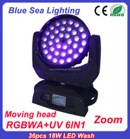 36x18w rgbw uv 6in 1 led zoom moving head light