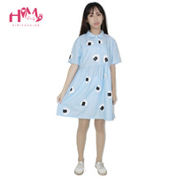 Japan Style Women's Summer Dress Harajuku Young Girl Air Blue Doll Collar Laver Rice Vegetable Print Princess Cotton Dresses