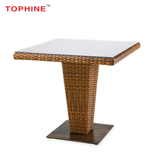 TOPHINE Outdoor Furniture Aluminium Frame Wicker Woven High Bar Rattan Table
