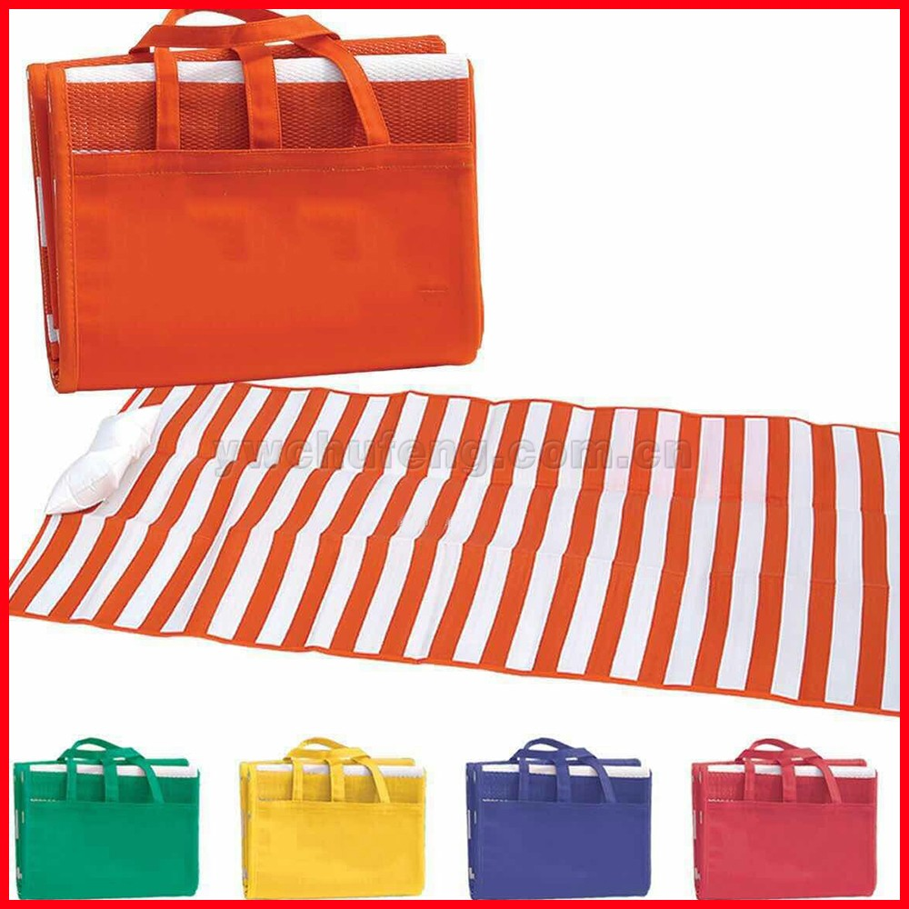Pp Two Tone Stripe Beach Mat With Inflation Pillow Buy
