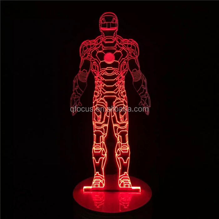 Standing Iron Man 3D ABS Base Lamp LED Night Light Table Illusion Decorative Lamp
