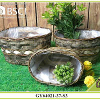 BSCI Oval Wicker Flower Garden Baskets