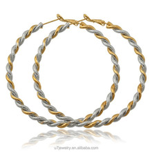 gold platinum mix color fashion bamboo round hoop earrings big circle