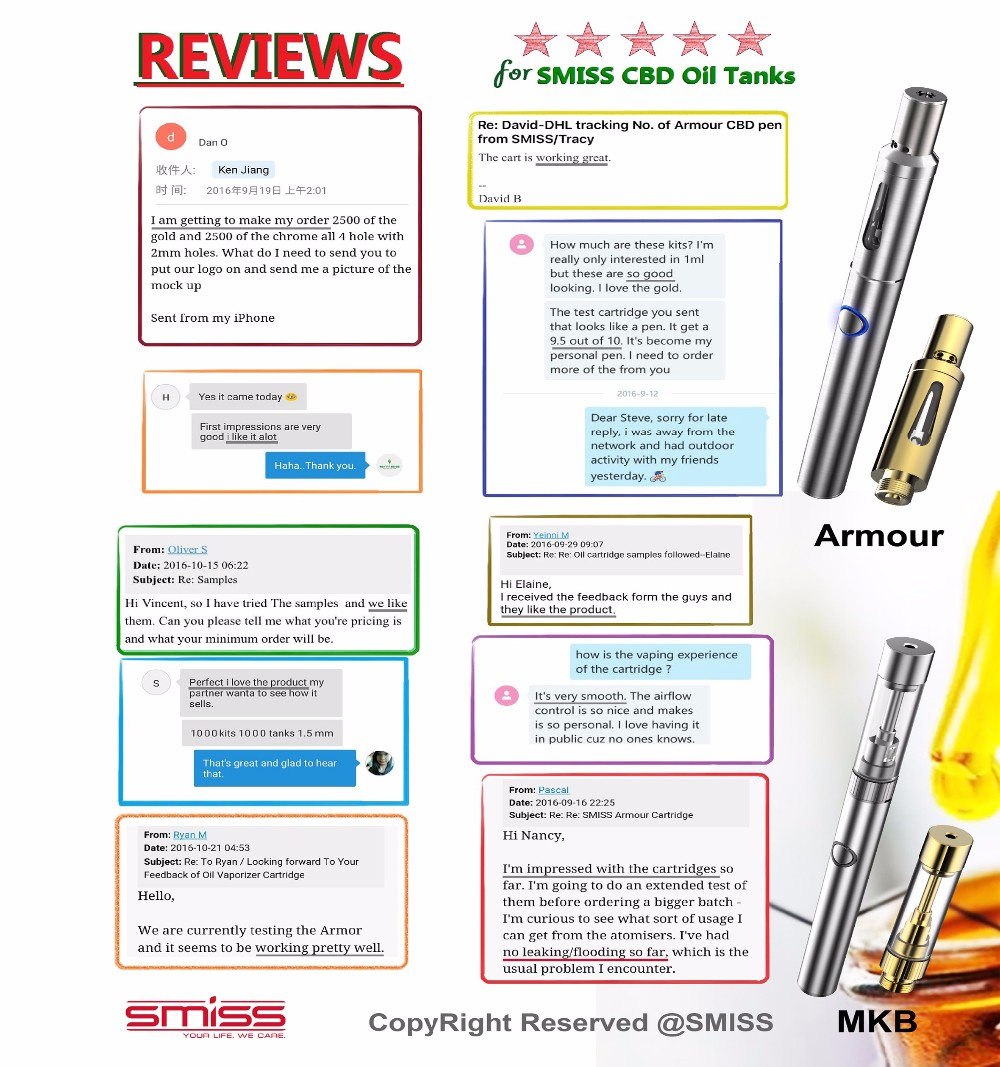 SMISS Armour Cbd Oil Vape Pen Glass Cartridge Vape disposable thc oil cartomizer