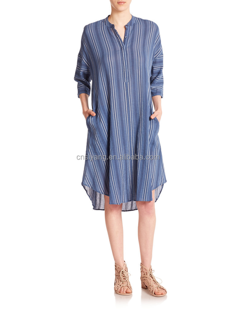 Blue Soft Gauze Caftan Relaxed Fit Mid Length Long Sleeves Lady Stripe Shirt Dress