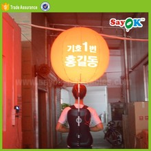 Hot sale led new inflatable light backpack balloon print advertising
