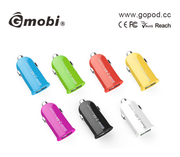 Wholesale Mini Wireless Output 2.4A Single Car USB Charger For iPhone/iPod/iPad