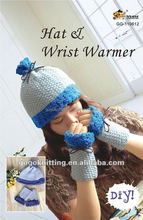 Diy fashion knitted kit hat and wrist warmer