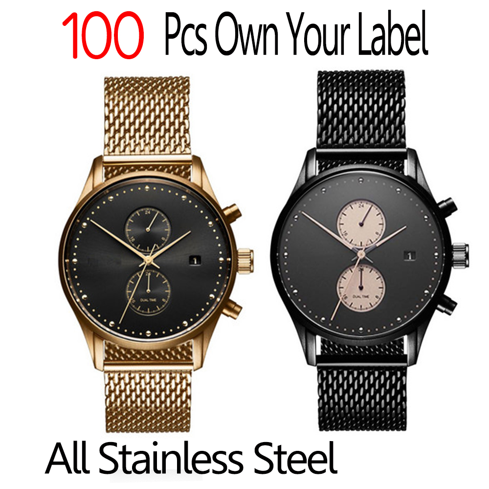 2017 new design luxury mens top brand concepts stainless steel quartz watches custom your logo
