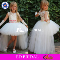 Latest Designs Short Front Long Back Lace Appliqued Tulle Flower Girl Dress