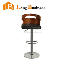 LB-5003 Kitchen furniture walnut bentwood swivel height adjustable stool