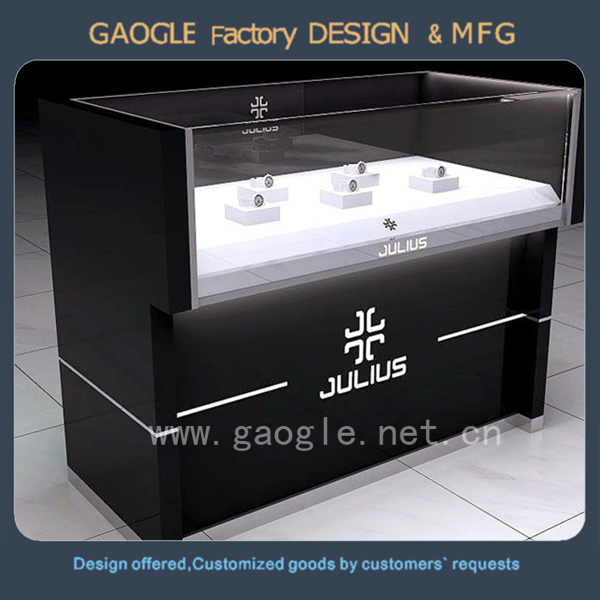 modern design wood used jewelry fixtures stores glass display showcase