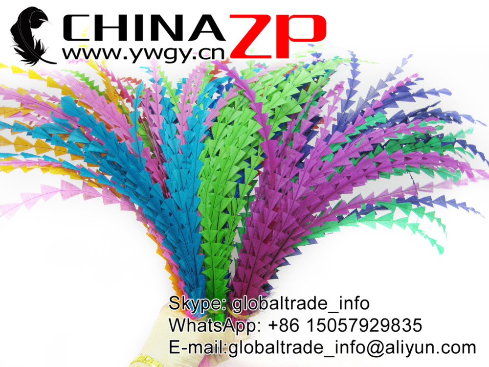 CHINAZP Wholesale Handwork Trimmed Dyed Long Rooster Tail Feathers for Carival Costumes Design