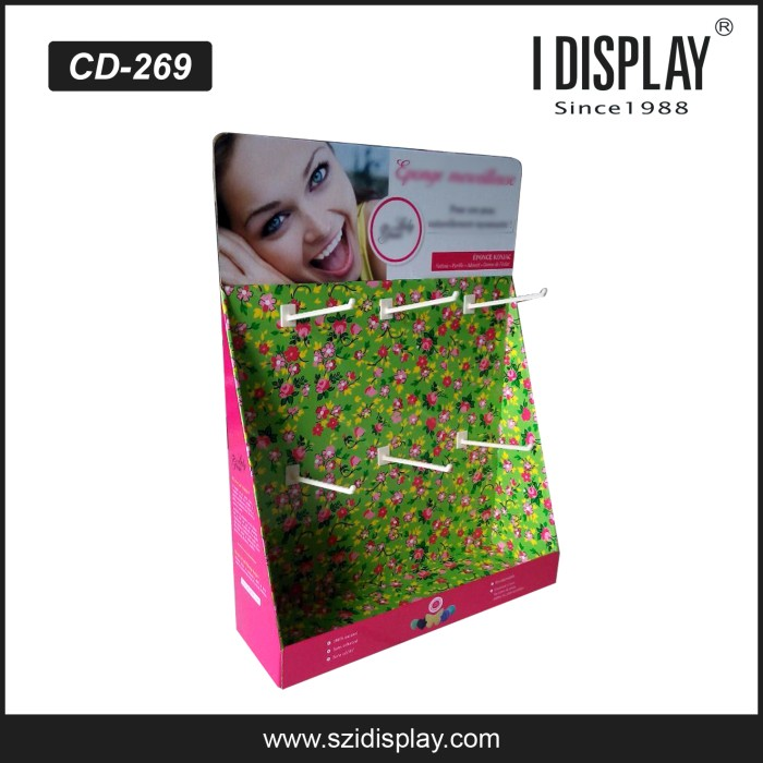 Market newest design mascara counter display hook hanging cosmetic display