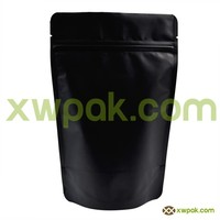Custom printed Matte Black aluminum foil food stand up packaging bags with zipper