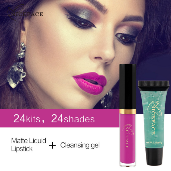 waterproof fashion 24 <strong>color</strong> set matte liquid lipstick + <strong>remover</strong>