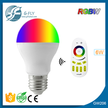 China hot slae 6 watt e27 remote control 16 color rgb led bulb light