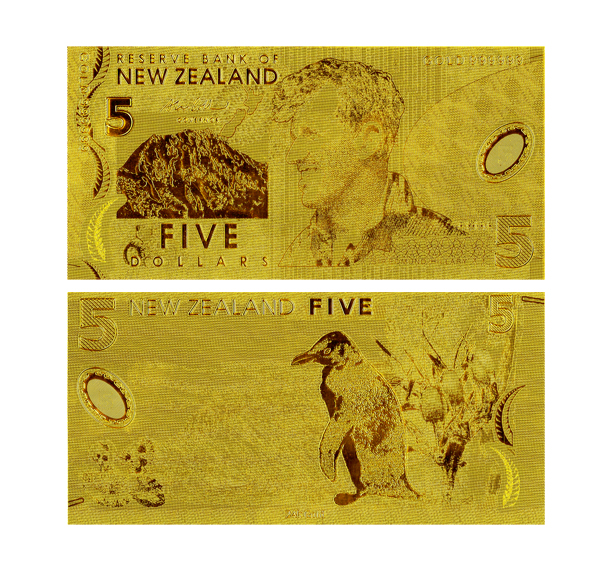 Top-ranking New Zealand 5 Dollar 24K Gold Banknote For Value Collection Art crafts