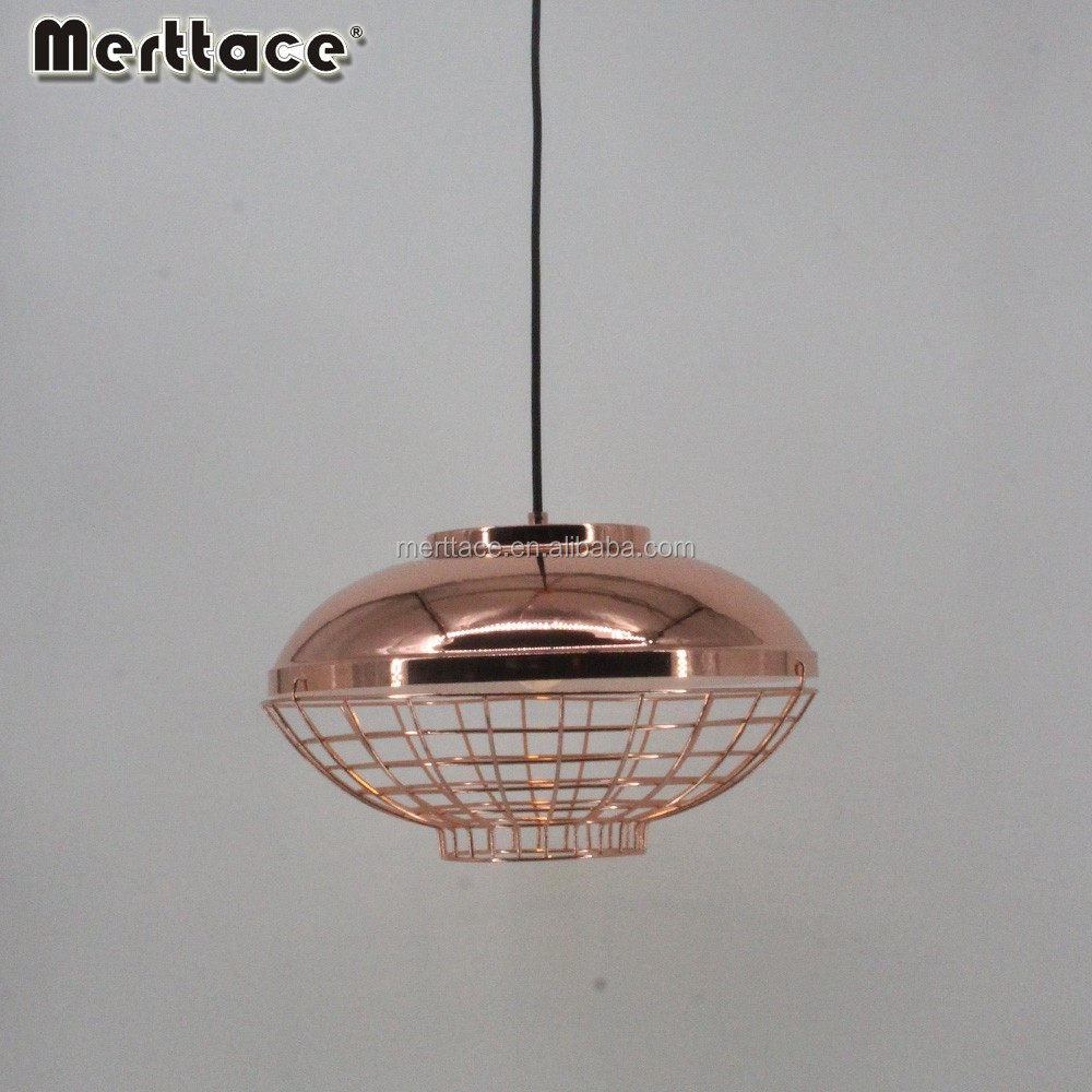 Co-flat ball bird's nest wire aluminium cage pendant lamp in copper color