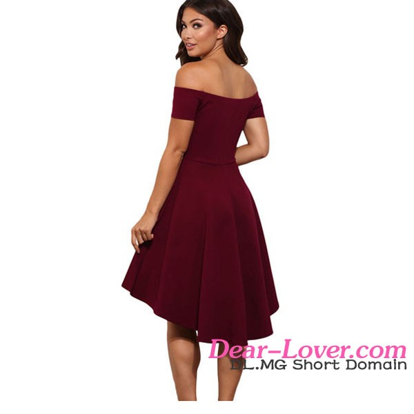 2017 Burgundy Skater Dress Cocktail Dresses for Wedding