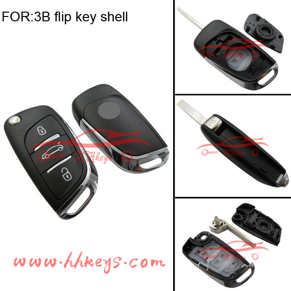 Universal remote Control Citroen car flip key shell 3 buttons 307 blade with logo and battery clip