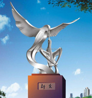 Outdoor abstract stainless steel sculpture eagle