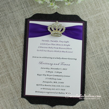 Die Cut Glitter Baby Shower Invitations , Purple invitation Cards
