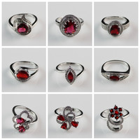 Different Types Rhodium Plated Red Zircon Diamond Paved Fashion Photo Jewelry Finger Rings