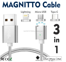 magnetic 3 in1 usb cable, type c 3 in 1 cable,different types of cables