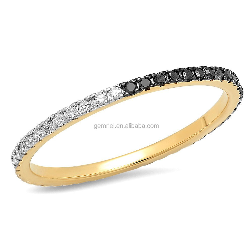 Black and white diamond ring eternity band gold plated jewelry ring classical ring