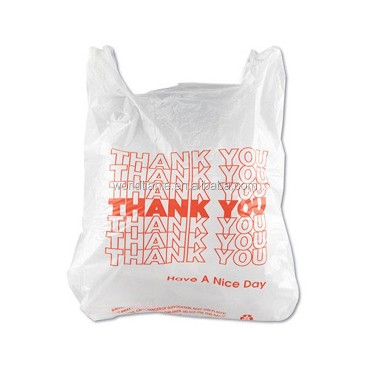Thank You T Shirt Bags Wholesale Shopping Plastic Bags For