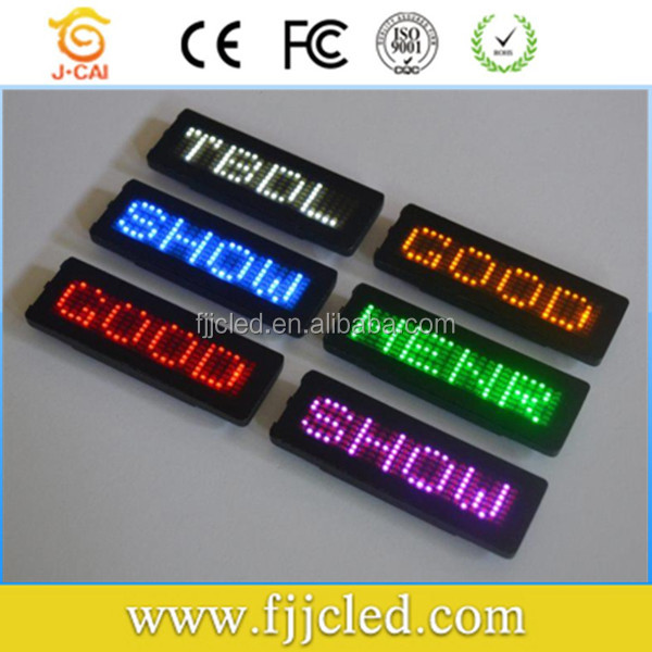 Alibaba express red/blue/yellow/green/white digital led name badge