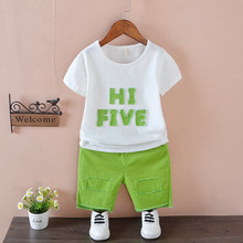 2018 summer new kids clothing suit boys short-sleeved children T-shirt pants two pieces