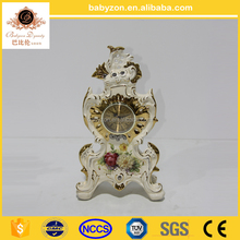 New Arrival Ornamental Cast Brass Mounted Ceramic Table Clock, Gold Plated Hand Painted Turquoise Porcelain Table Clock
