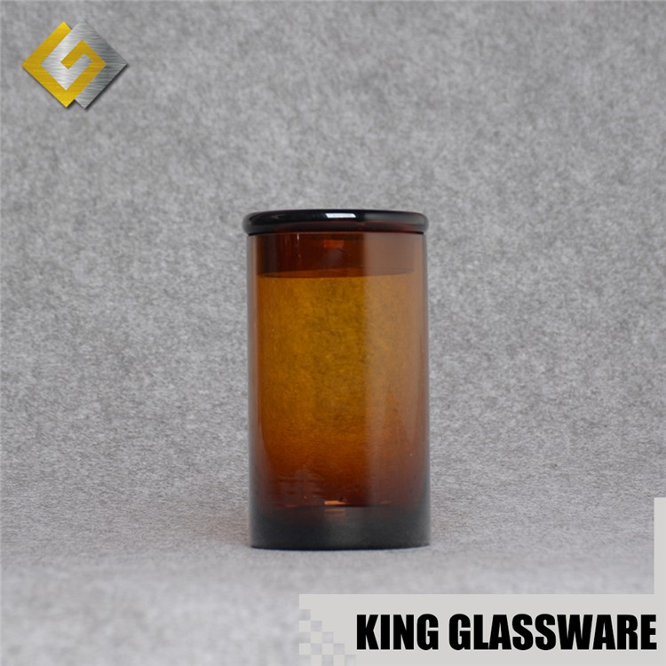 Custom amber glass storage candle jar with lid