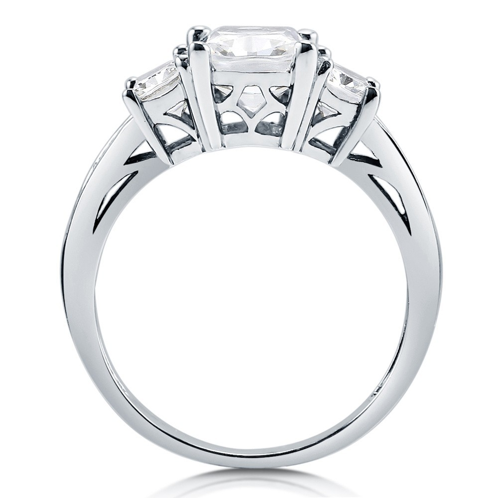 925 Sterling Silver Cushion CZ 3-Stone Ring Set R500439