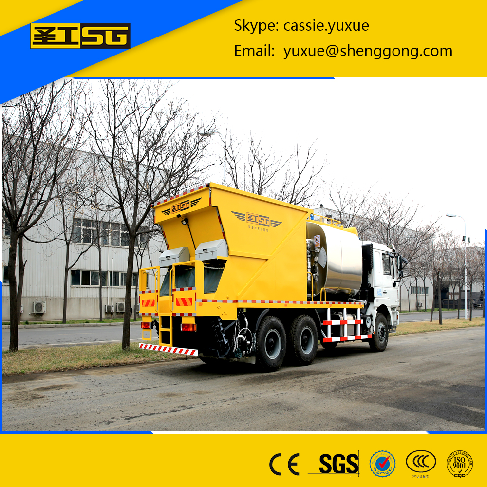 Stone spreader machine,6000L asphalt tank and 8000L stone tank Asphalt macadam Spreader