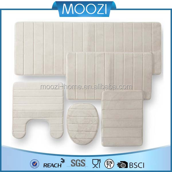 Beige Long Memory Foam Carpet,Toilet Carpet Set Fabric,Bathroom Bath Rug Mats