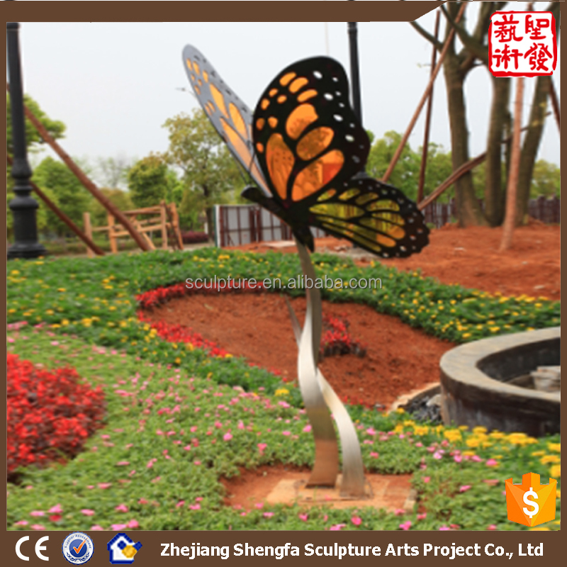 New Small Single Butterfly Outdoor & Garden Decoration Stainless Steel sculpture