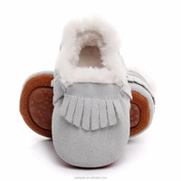 Hot Sale Leather Fur Baby Shoes