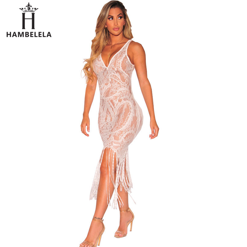 ... Sexy See Through Lace Bodycon Dress Women V-Neck Strap Tassel Maxi Dress  Summer Party ... 9ef1c9716972