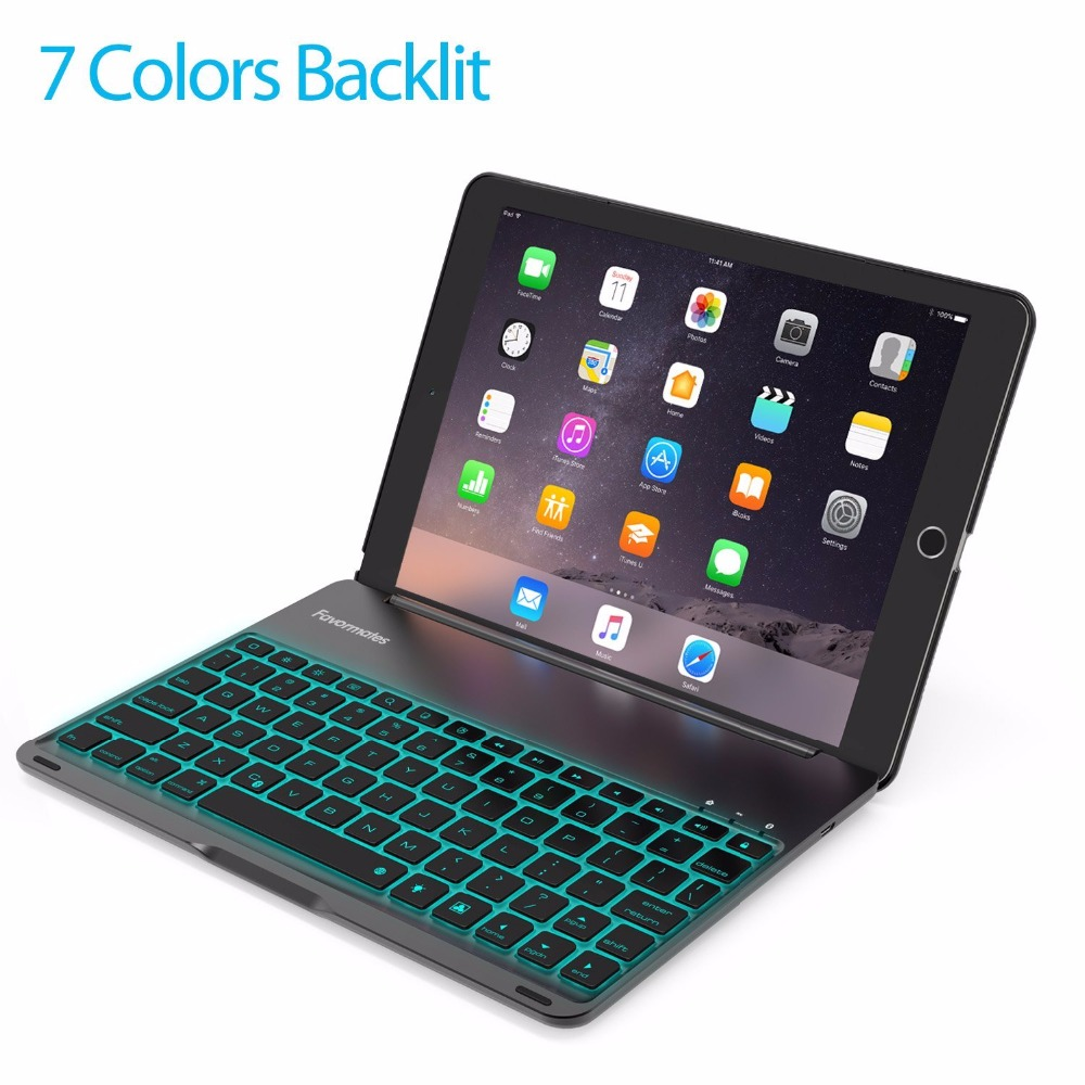 For iPad PRO 9.7 Inch iPad Air 2 Keyboard Case LED 7 Colors Backlit Bluetooth keyboard with 130 Folio Hard Back Cover