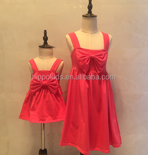 Twins clothing hot pink bowknot slip dress baby frock design pictures boutique kids beautiful model dresses