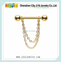 Gold Plated Chain Dangle Nipple Ring