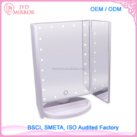 Daily use multifunctional folding mirror led illuminated tri-fold two-sided lighted makeup mirror