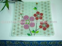 square tempered decorative glass plate,glass serving tray