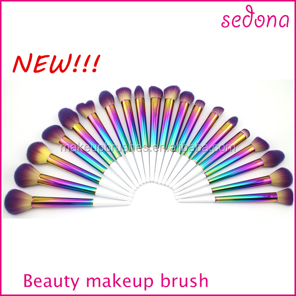 Sedona new product colorful series,rainbow color makeup brush set with white handle,hyun color sparkle make up brush