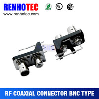 Right angle Two BNC Female connector in one Row with Black plastic Housing