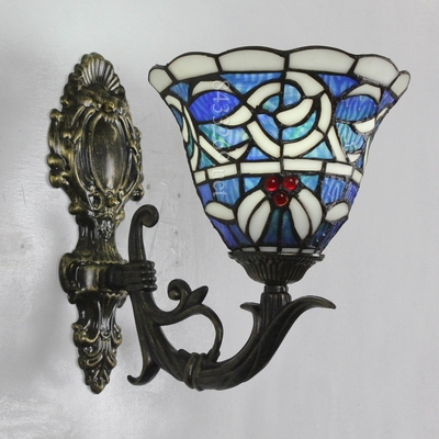 High quality 8 inch tiffany wall lamp with baroque design shades for home decoration